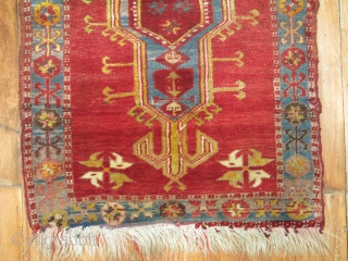 Antique Turkish Yastik Size 2'1''x3'3'' in need of a repair.  Some synthetic color