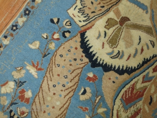 Romantic Nain Pictorial Rug With poem written all around in silk highlights!  2'6''x3'4''