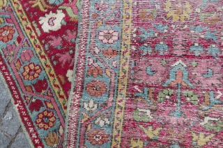 Antique Ushaq runner fragment wonderful colors and very old Circa 1850-1860