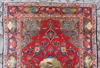 Kashan Prayer Rug wonderful colors and excellent condition all original full pile Circa 1910