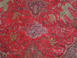 Kirman embroidery with inscription, ca. 170x130cm, early 19th century, fragmented and mounted on linen.