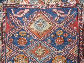 East Caucasus village rug. 1890 - 1915. 120 x 250 cm. All wool. Pile: Glossy 4-6 mm high. A rare rug with non-commersial size and with nomad structure and drawing. Some pattern element are  ...