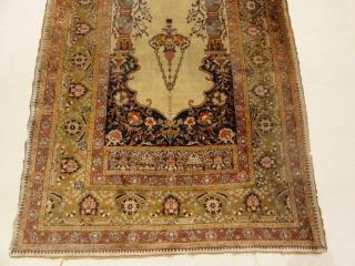 """Antique Silk Turkish Prayer Rug 4'5"""" x 6'3""""  Made in Turkey"""