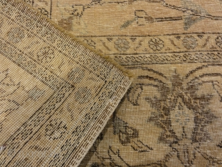 """Antique Beige and Pink Persian Tabriz Genuine Authentic Intricate Woven Carpet Art  7'2"""" x 11'"""