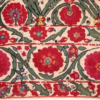 Early 19th C. Shahrisabz Suzani from Uzbekistan 190 x 245 cm