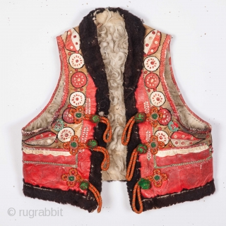 Eastern European ( probably Hungarian ) Leather Applique Vest