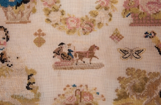 European Finely Embroidered Sampler with the initials of the embroiderer and dated 1856