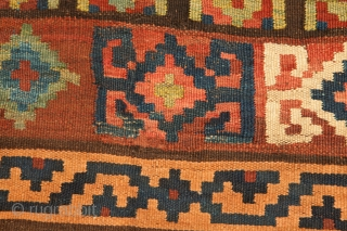 12590  Bijar Kilim 323x133cm Circa 1910  Fabalous antique Bijar kelim with a very unusual colours and design. While Bijar is very well known for its carpets and their sturdiness but it is  ...