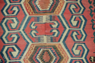 19th Century Anatolian kilim with very pretty colours and decorative design. Some restorations as shown in the images. 283X163CM