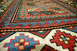 Attractive 19th Century Antique Kazak Rug with a harmomious easy to the eye colour combination. Some expert restorations done as shown in images. 190x150cm  More Info: https://sharafiandco.com/product/antique-kazak-rug190x150cm/