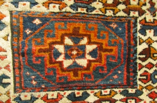 """2' 8"""" x 3' 6"""" Kurd Bagface  Missing rows of knots at each end; one small repair   Free Ship/U.S.  3 Day Returns Policy"""