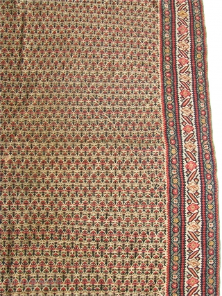 """Antique 4' 5"""" x 6' 7"""" Senneh Kilim with one small hole.  Free Ship/U.S.  3 Day returns.  Sorry, no direct overseas shipping."""