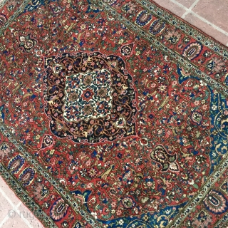 "1930s Finely woven 4' 7"" x 6'7"" Bakhtiari in excellent overall condition.  Includes shipping/continental U.S."