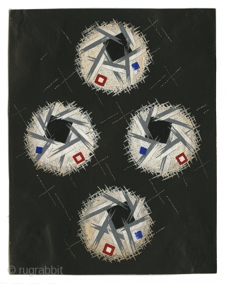 Art Deco Textile Paintings. Germany, c.1920s-30s. Gouache on paper. These designs were intended for silk jacquard tie fabrics. The designs came from a large ledger - the tie company's record book. The  ...