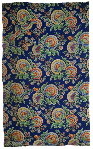 """Russian roller-printed cotton cloth. Produced in Russia for export to Central Asia. c.2nd quarter 20th century. This fabric was used as the backing of an Uzbek quilt (""""kurpa""""). As a result there  ..."""
