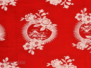 Mount Fuji. Russian roller-printed cotton cloth for export. Early 20th century. An interesting pattern that combines the iconic Japanese Mt. Fuji with the Islamic star and crescent. I have seen three versions  ...