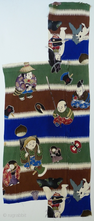 Japanese Silk Kimono Fabric. Two pieces of printed silk. Was originally part of a young boy's kimono. The images are likely from a Japanese fairy tale. Bought in Japan in the 1970s  ...