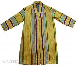 "Vintage Man's Striped Robe. Uzbekistan. Very good condition - cut full, clean, and ready to wear. The fabric is strong and has a soft hand. 48"" long; 20"" sleeve length from shoulder  ..."