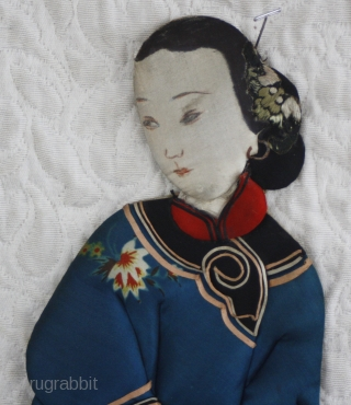 TC 501    Using stuffed folded fabric on paper backing to form decorative doll type figures was a highly prized art form in old Chinese culture. This large figure of a  ...
