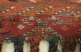 Antique Turkomen matching pair of Yomud tribal Sumak weave tent bags (aka chuval)... beautiful condition...out of my private collection measures 33 inches x 17 inches (not including fringe)