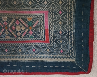 Rare Chinese Ethnic Minority Children's collars Late Qing   These 3 collars were originally the collar portion and were sewn to a lower section to forming a child's pinafore... Home spun yarns intricately  ...