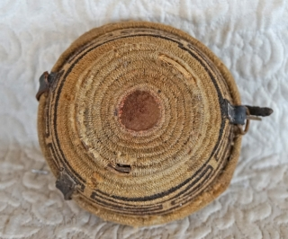 Antique Tibetan woven bowl container.  This woven Tibetan container was used to hold a pair of wooden tea bowls. There is a removable interior separator which allows for the separation of the tea  ...