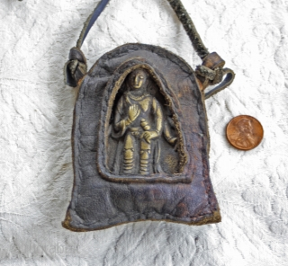 Antique Tibetan Bronze Talisman in leather case.