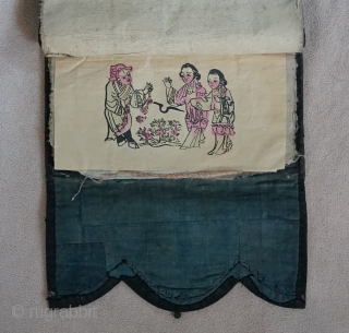 Chinese Qing Dynasty Woman's textile embroidery stencil storage case.