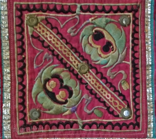 Vintage Chinese Dong Ethnic Minority Embroidered baby head cover...             Most people mistake these square shaped embroidered pieces for baby carriers... Actually these squares  ...