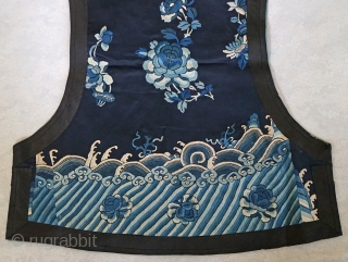 Antique Chinese Qing Dynasty Traditional Manchu Vest... Original buttons with loop closures... Satin stitch embroidery ...vest has been worn...a few very light stains...fits a small woman... stunning