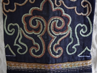 Miao Chinese minority toddlers pants circa 1940's EMT160 These toddler's pants were used by successive siblings and probably several generations of Chinese Miao ethnic minority children. The pants are of handwoven indigo dyed fabric  ...
