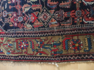 Antique Shahar Mahal  Bachtiari  rug  round  1900  132 X 207 cm.    All  natural  colors , Oxydate  camel wool  border ,  ...