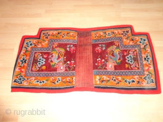 Very  fine  and  lovely  Tibetan  saddle rug  round  1920