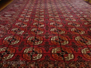 Antique  Tekke  Turkmen Main  Carpet  about 1900  209 X 320  cm. very  fine weave , high quality wool , very beautiful colors , no  wear, only  ...