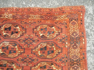 Antique Large Ersari Chuval Fragment with lots of places of moth damages - needs to be cleaned and restored - still attractive