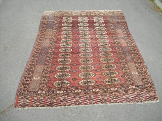 Antique Bukhara (around 1900) - Tekke Carpet - good pile - sides need to be restored partly - blanket like handle - velvety feeling - with abrash/ 