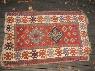 Kazak Antique - c 1850 - very soft and glossy wool, great colours, professional washed - fragmentary/ Size: approx. 79 cm x 117 cm - shipping worldwide possible