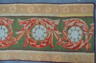 Rare Antique Aubusson Kilim, first half 19th, 412 x 80 cm (2 fragmented pieces mounted together)