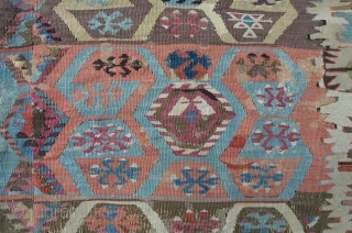 Anatolian two row's Kilim, early 19th, beautiful colors and composition. some repairs and little damages. 300 x 155 cm.