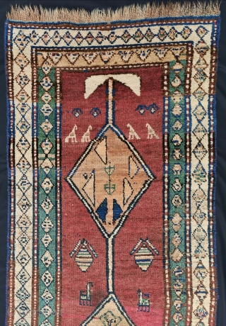 Nomadic North West Persian runner, some camel hair ground color at the Medallions, 257 x 81 cm