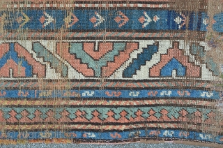 Antique Kasak with green, rosa ground compartments, 221 x 124 cm
