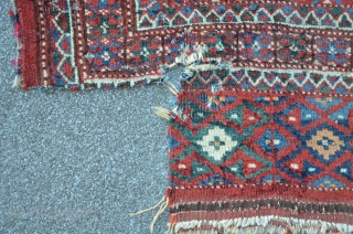"""Turkmen """"wedding"""" carpet with exceptional unknown? gul. Could not find any relation in literature. Very fine executed graphics of the main gul which does not appear like a simplification or degenerativ from  ..."""