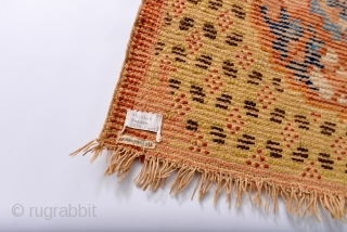 Possibly 18th Century Chinese or Tibetan / Mongolian throne mat or rug. Museum de-accession with erroneous Swedish attribution. Name of previous collector or provenance donor also stitched on back. De-accessioned from a  ...