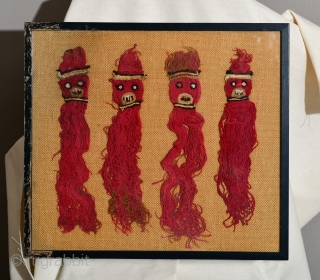 Pre Columbian Wari or Huari Culture set of 4 deity figurines. Framed behind glass a long time ago with a penciled number on the backside - possibly a museum deaccession.  Size: 16.5 x 18.5  ...
