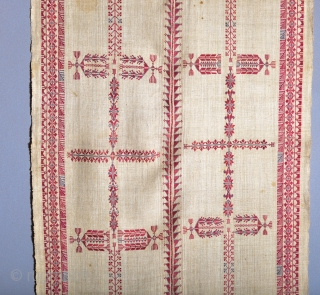 Here is a rare and museum qualityl antique Palestinian embroidered shawl from the mid 1800s (Very similar to the one at the Metropolitan Museum). It is silk floss on a handwoven hemp  ...