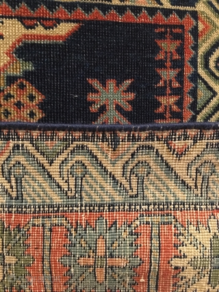 Seychour. Circa 1875. Rare, finely woven.  Stunning wall art.  Field design depicting the Seychour cross.  Crab border enclosed by eagle border.  Excellent condition. Reselvaged. No repairs. 53 x  ...