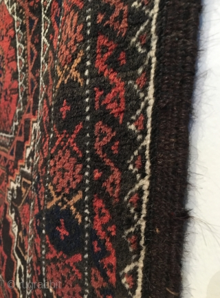 Salar Khani Baluch Rug.  Khorasan.  NE Persia.  Circa 1900.     Excellent Condition.  Full pile.  Slight corrosion to chocolate brown field.  67x37.  5 colors.  Clean  ...