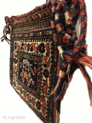"""Afshar Chanteh. Turn of the century. Rare and fully intact small bag. A tribal treasure. Chevron kilim back. Mint condition considering age. Original sides. 7 colors. 1'0"""" x 1'1"""". Delicately hand washed."""