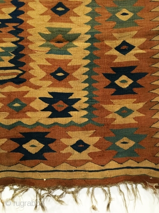 Antique Balkan Kilim. Oldest known Bakamsky or Garabalda design occurs on this type of Balkan Kilim. Woven in the vicinity of Chiprovtsy nw Bulgaria. Documented known design is 18th Century. Our early  ...