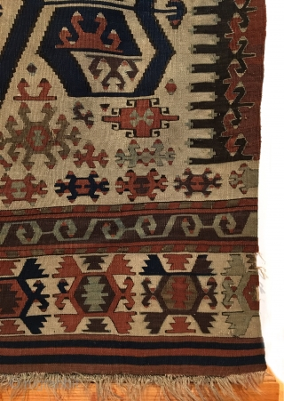 Konya Kilim. 19th Century. This is a monumental, early white ground West Anatolian kilim exhibiting saturated vegetable colors with bold drawings. In the heart of the kilim, stand four stacked medallions composed  ...